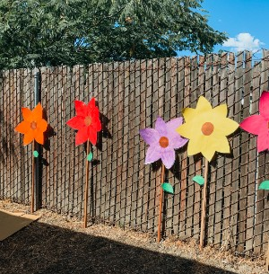 flowers on school fence
